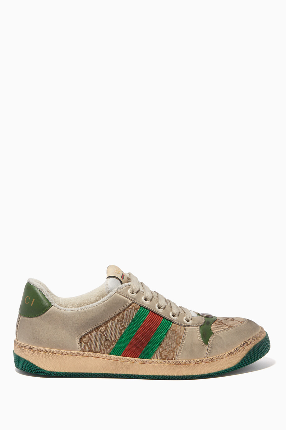 94844bc512 Shop Gucci Green Screener Leather Sneakers for Women | Ounass UAE