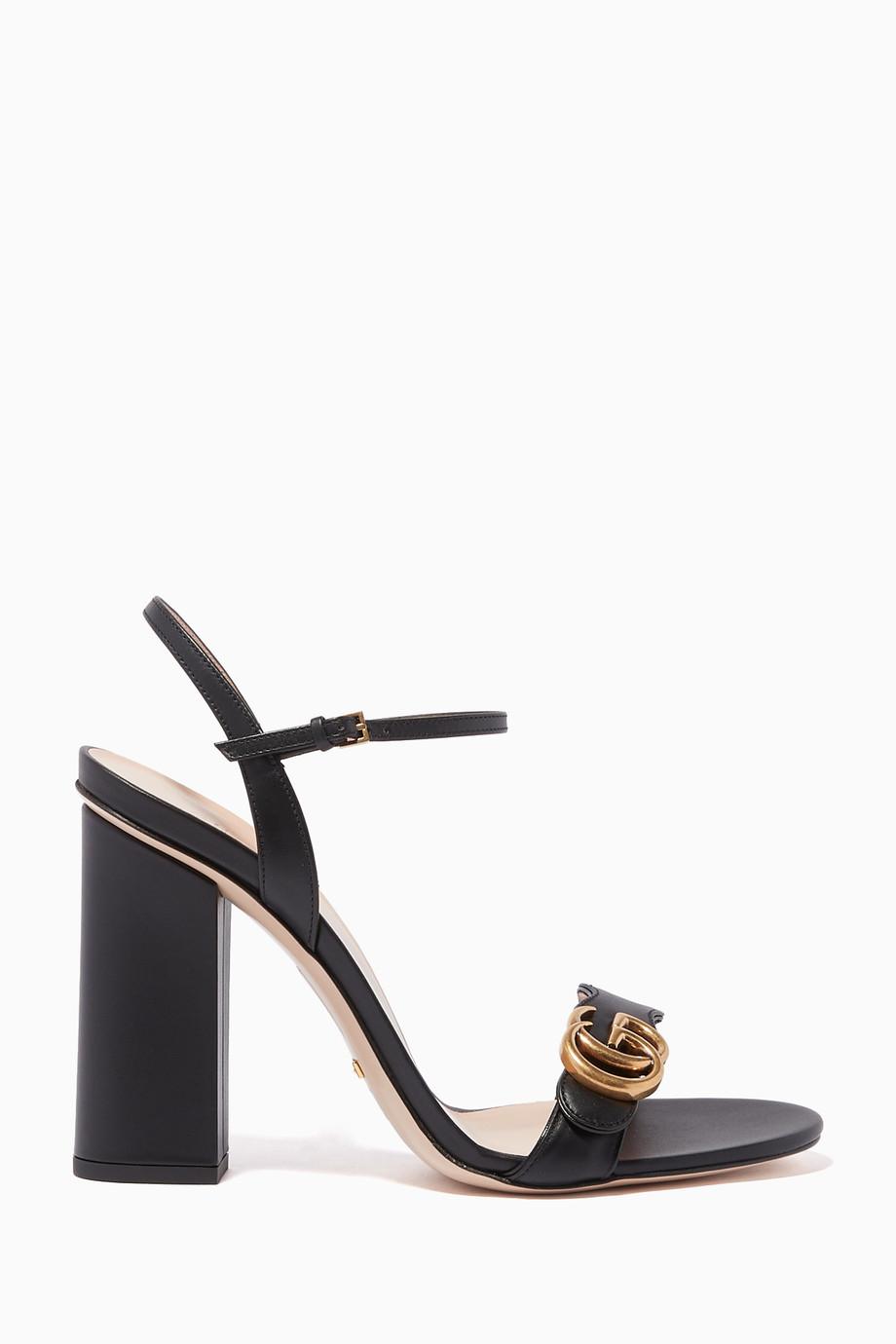 d84fd33ec Shop Gucci Black Marmont Leather Sandals for Women | Ounass Saudi