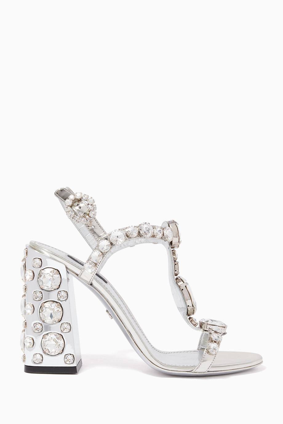 3d9be16fa Shop Dolce & Gabbana Silver Keira Crystal-Embellished Sandals for ...
