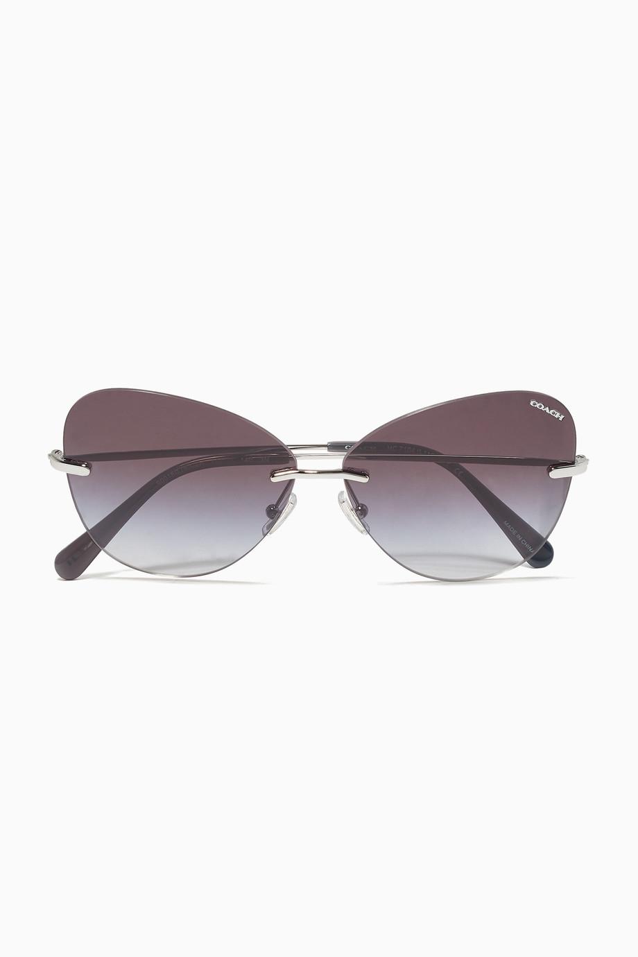 656d559102 Shop Coach Silver Lens Applique Butterfly Sunglasses for Women ...