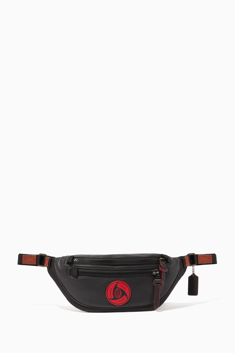 Shop Coach Black X Mbj Leather Cordura Belt Bag For Men