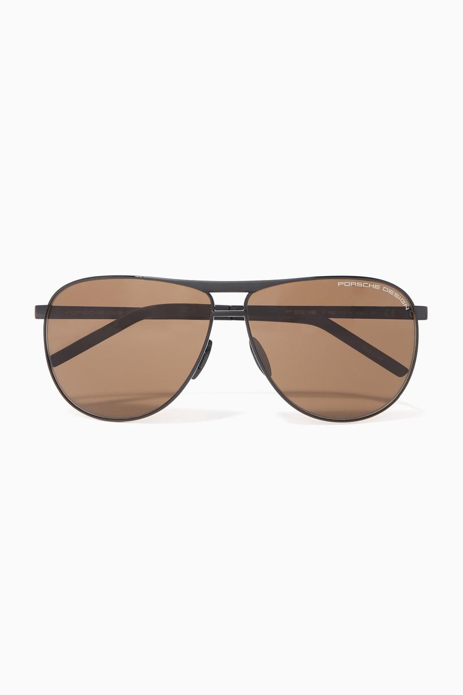 98098b6c6 تسوق نظارة شمسية أفياتور P' 8642 Porsche Design بنى للرجال | اُناس