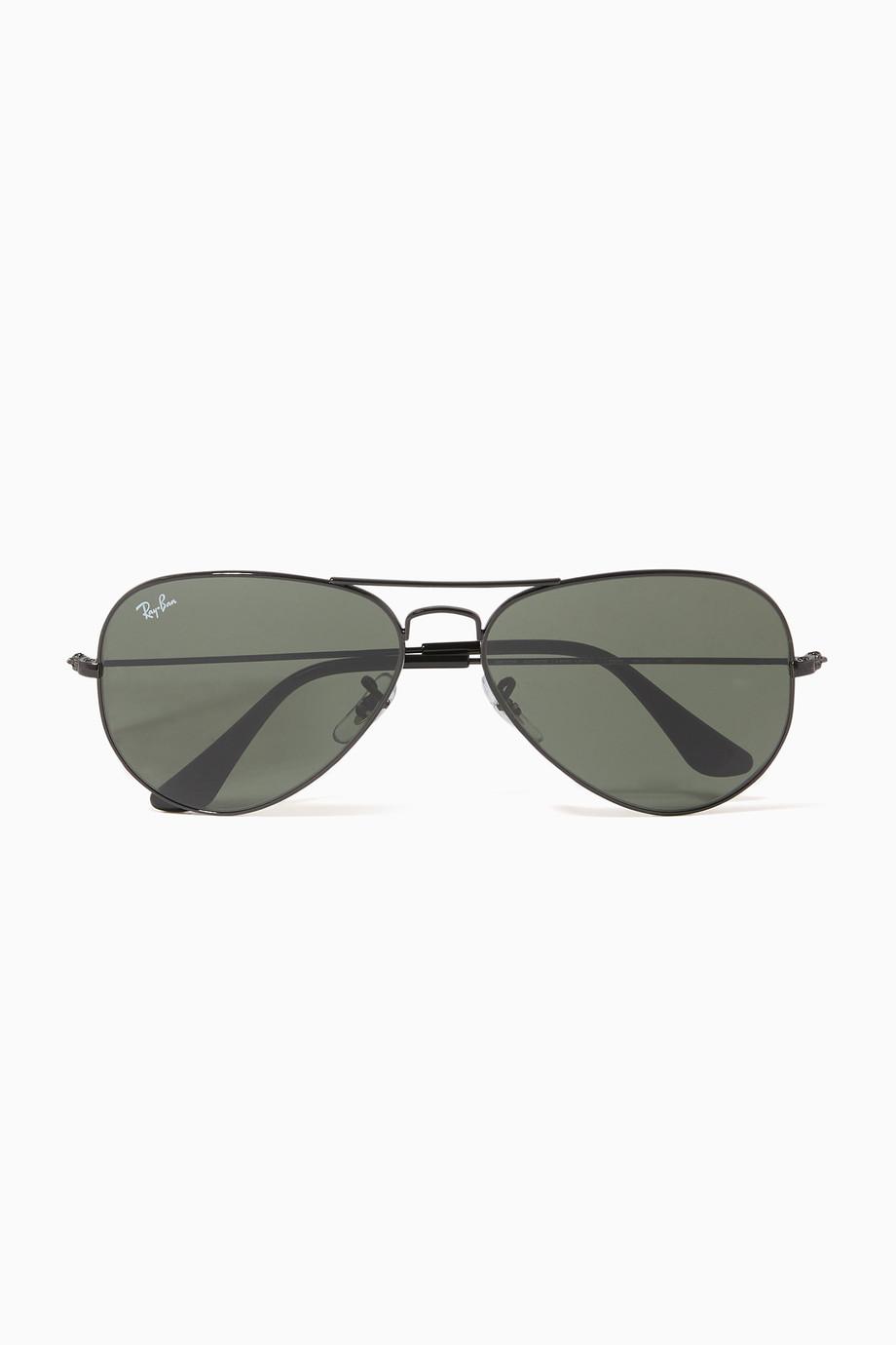 Shop Ray Ban Black Aviator Classic Sunglasses For Men Ounass