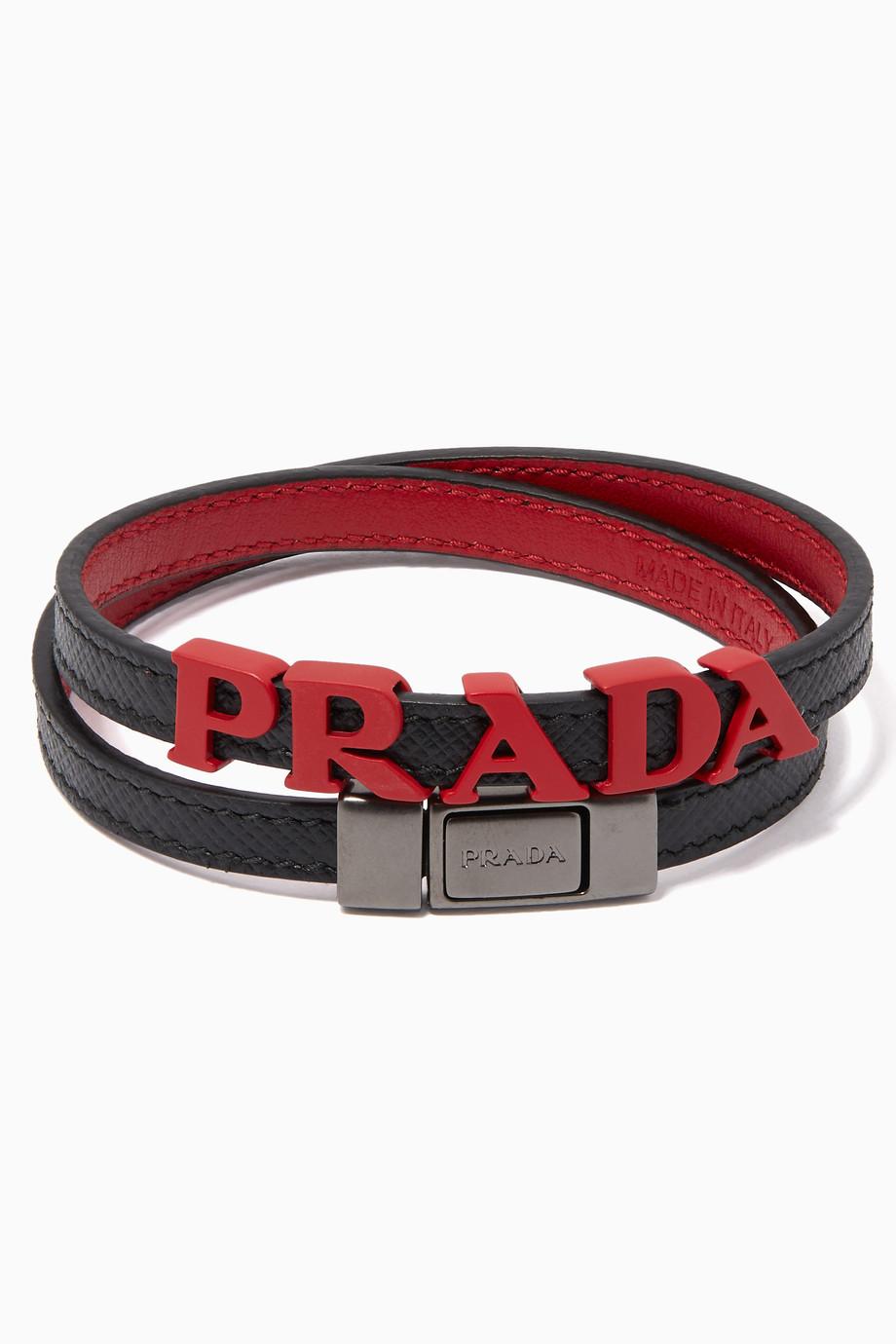 4c53058edc Shop Prada Black Logo Letters Saffiano Leather Bracelet for Men ...