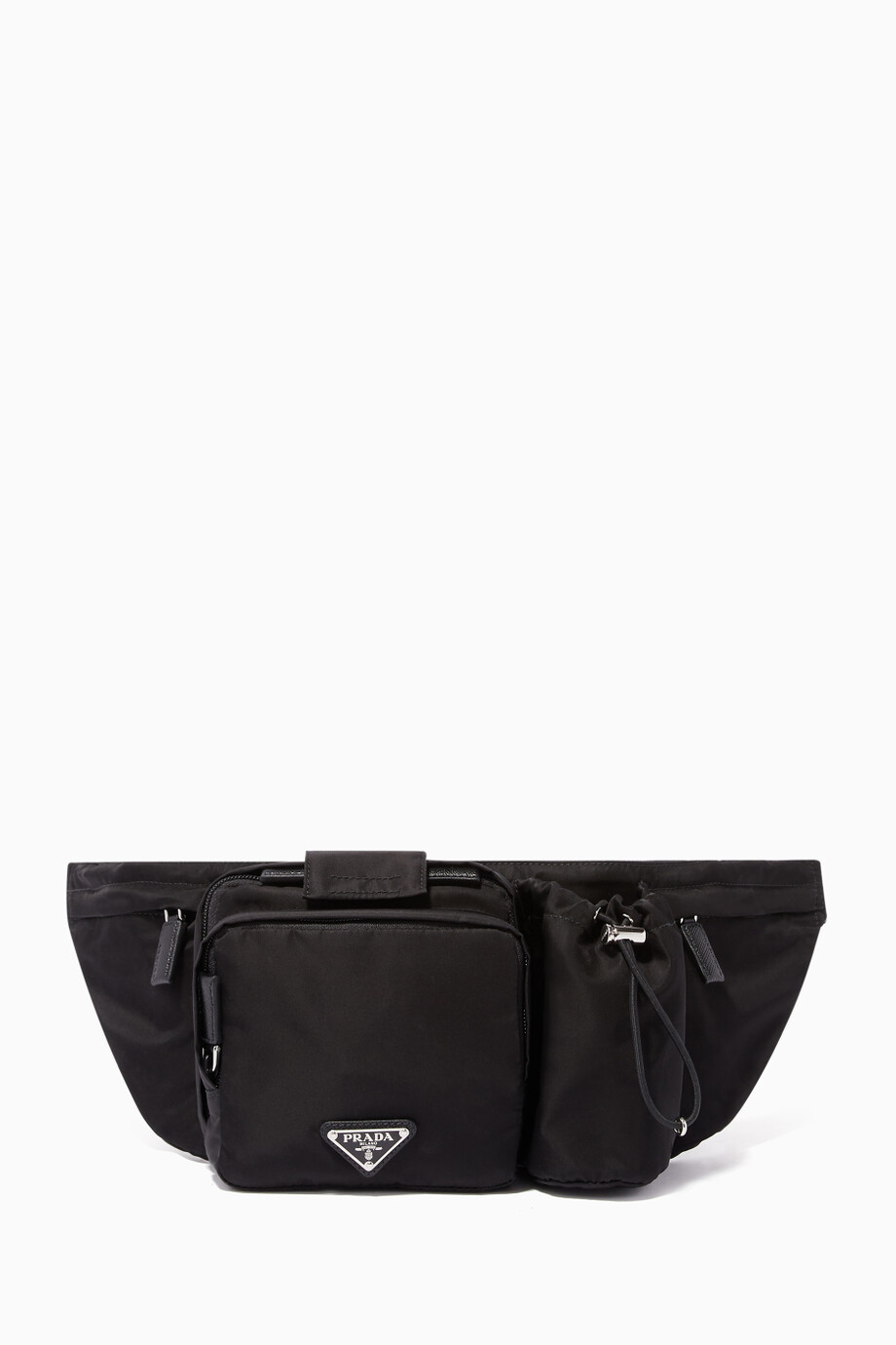 6ac91052ab90c Shop Prada Black Triangle Logo Nylon Utility Belt Bag for Men | Ounass