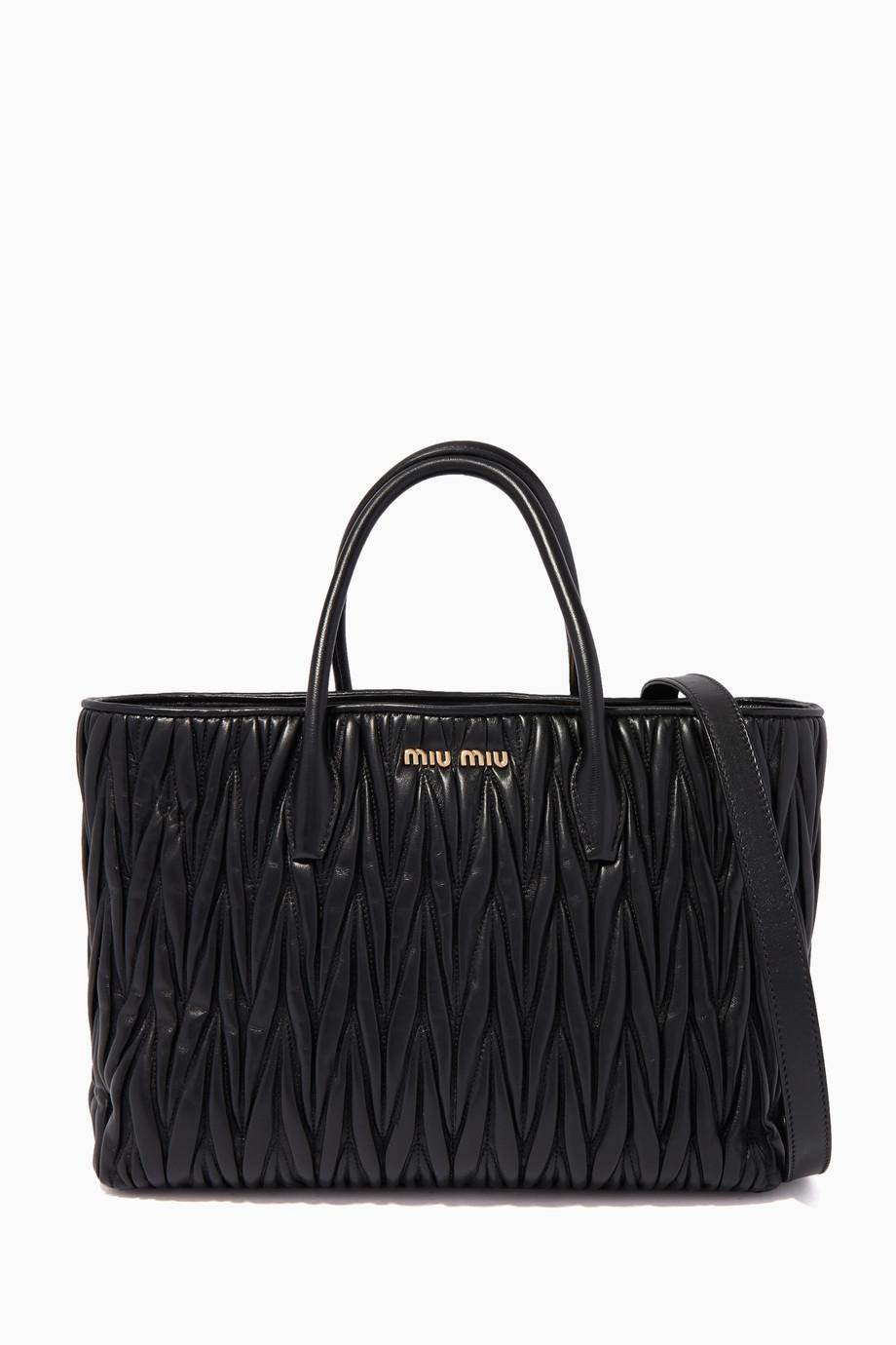 c3993125b9 Shop Miu Miu Black Matelasse Medium Nappa Leather Tote Bag for Women ...
