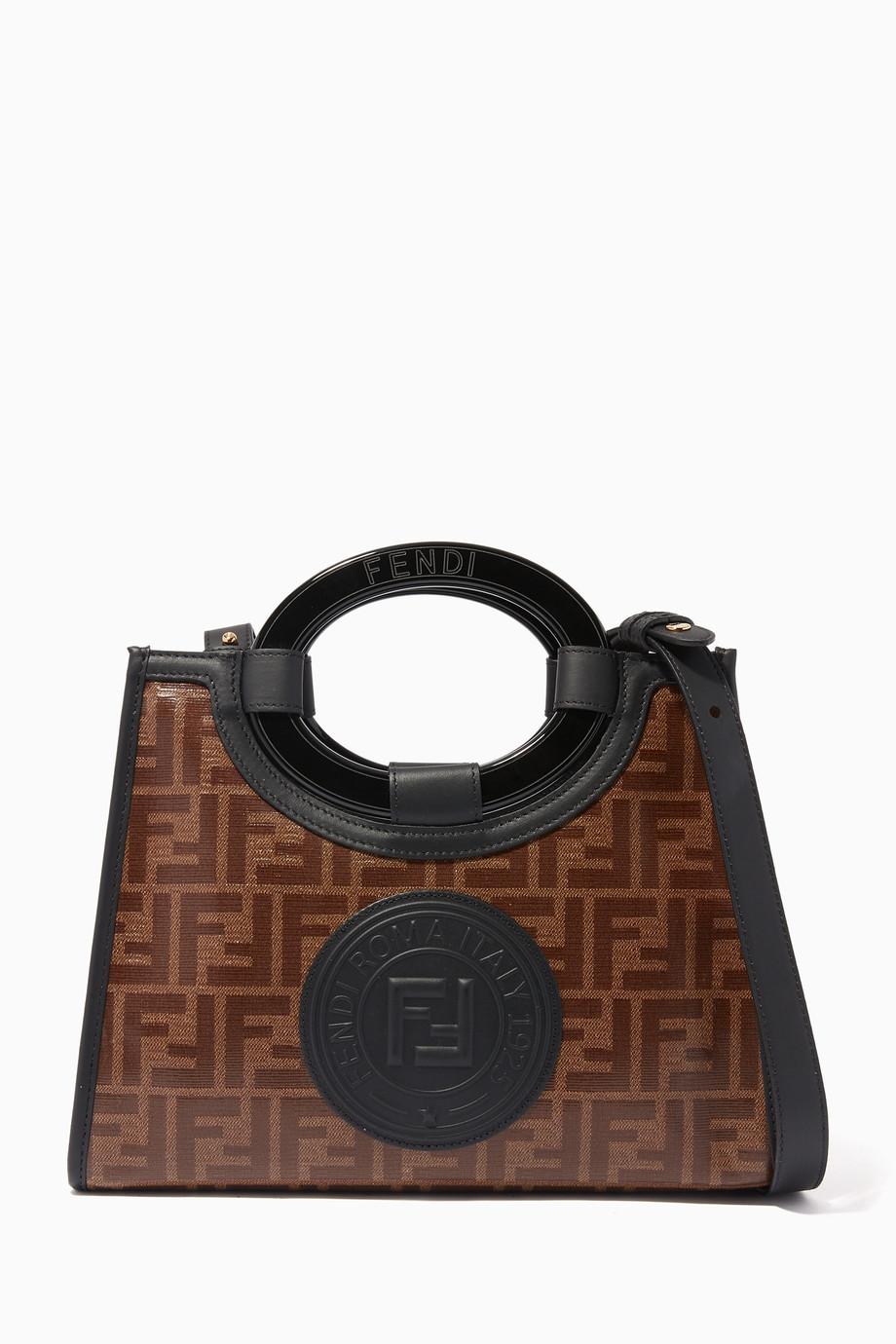 77e968ccbfd Shop Fendi Brown Mini Runaway Shopper Canvas Tote Bag for Women ...
