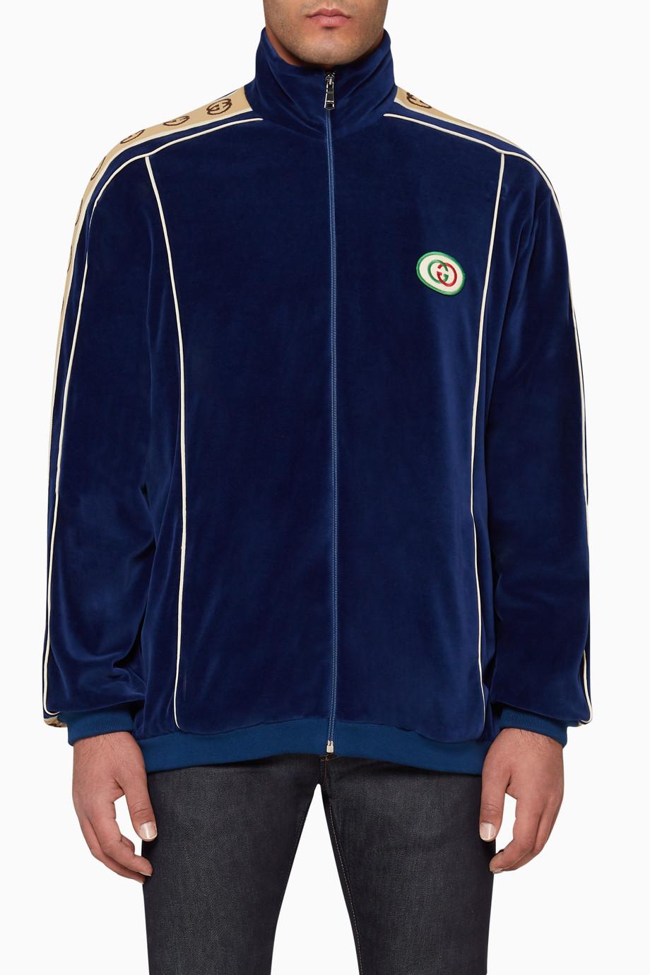 cd3d6bc6 Shop Gucci Blue Oversize Chenille Jacket for Men | Ounass UAE