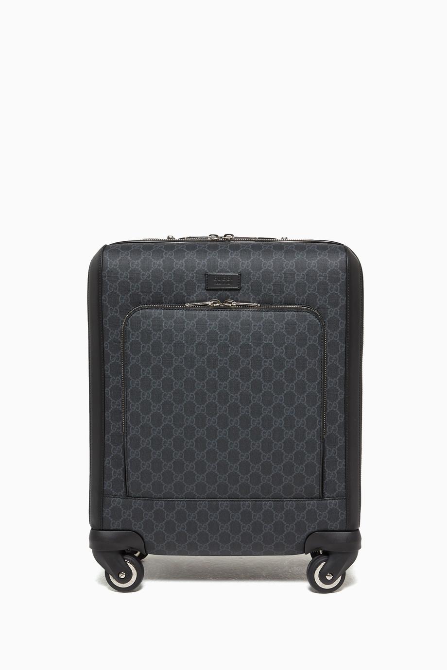 1303110d08 Shop Gucci Black GG Supreme Leather-Trimmed Suitcase for Men | Ounass