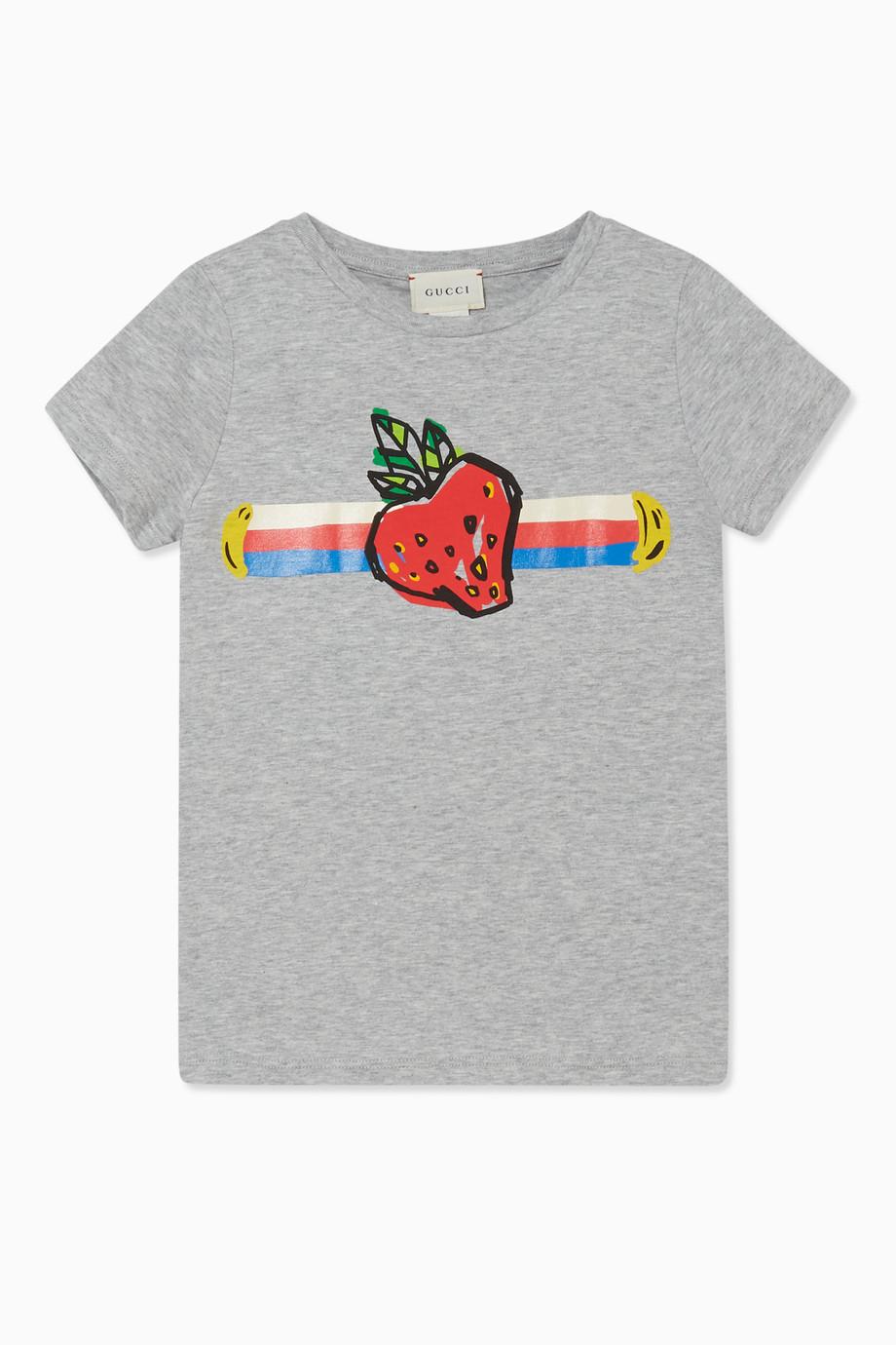 fd14762a Shop Gucci Grey Strawberry Print T-Shirt for Kids | Ounass