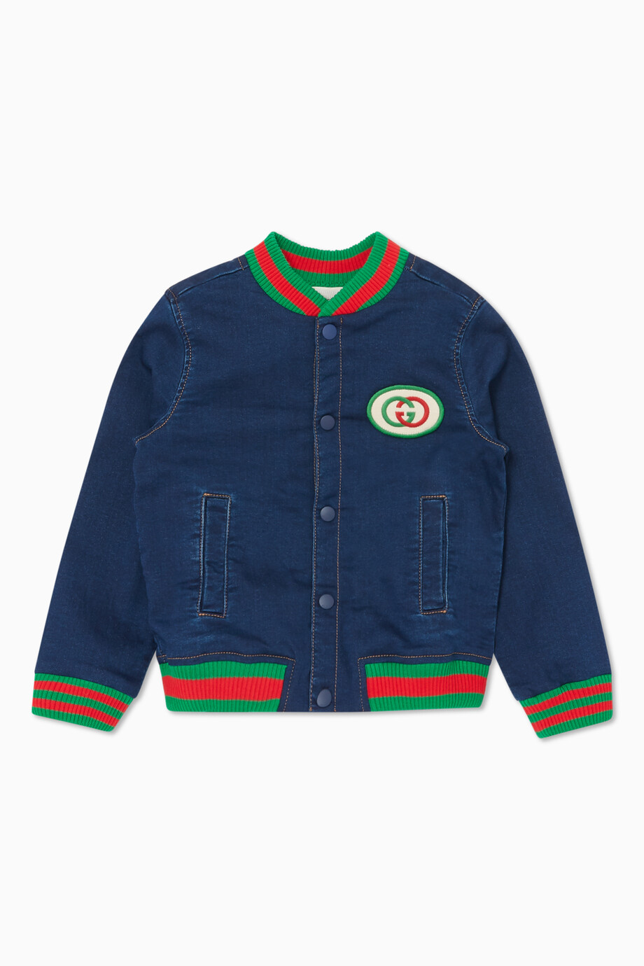cb76d731ef Shop Gucci Blue Logo Badge Denim Bomber Jacket for Kids | Ounass Bahrain