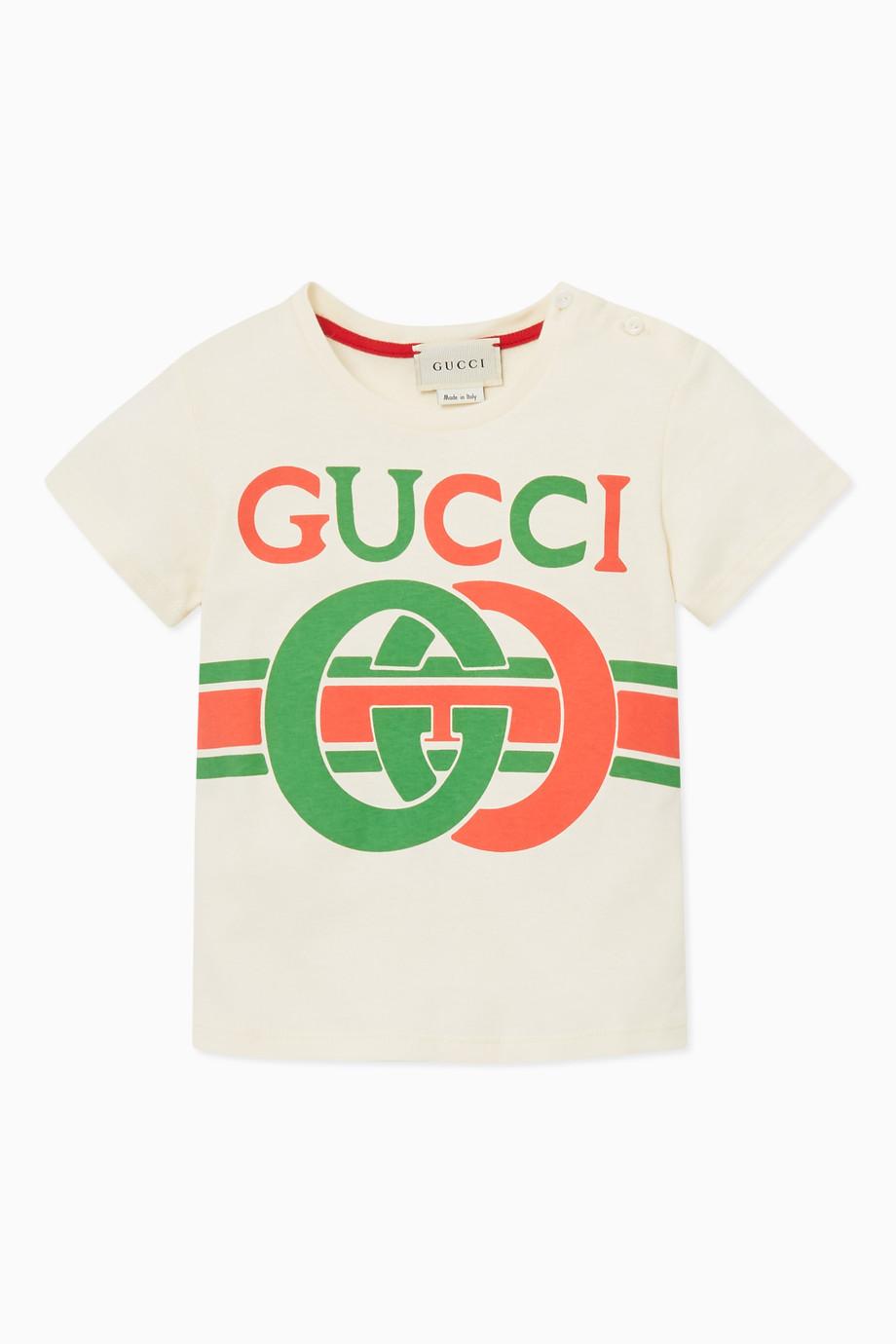 0bf5d7e0 Shop Gucci White GG Logo Print T-shirt for Kids | Ounass