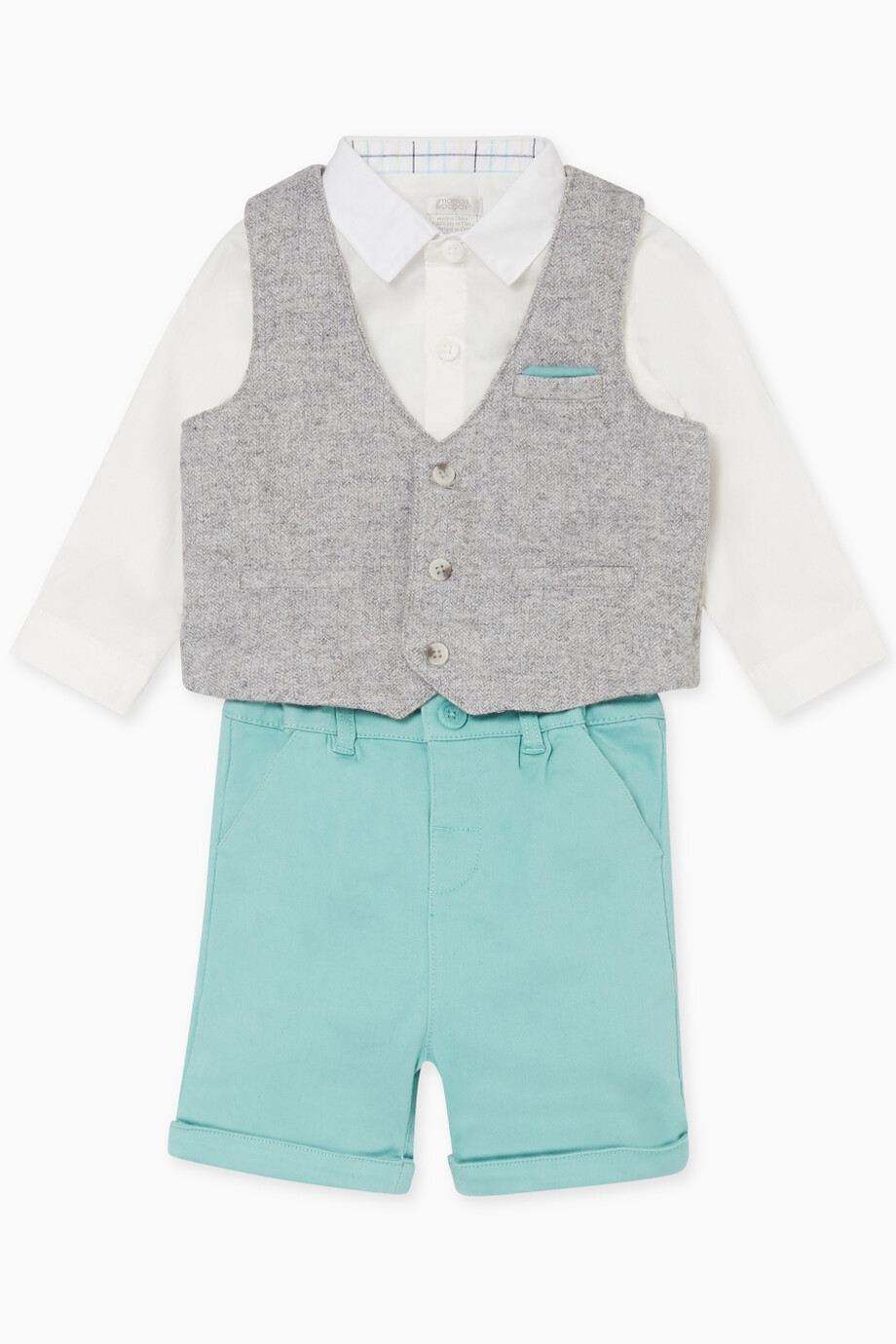 c06d11cee8 Shop Mamas & Papas Grey Shirt, Waistcoat, Shorts & Hat Set for Kids ...