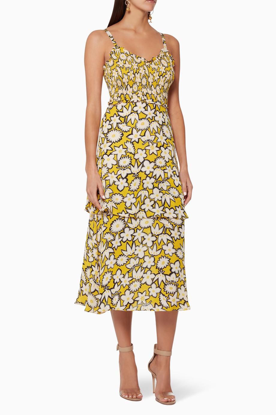 2806f841084e Shop WHISTLES White Nyla Floral Print Silk Dress for Women | Ounass