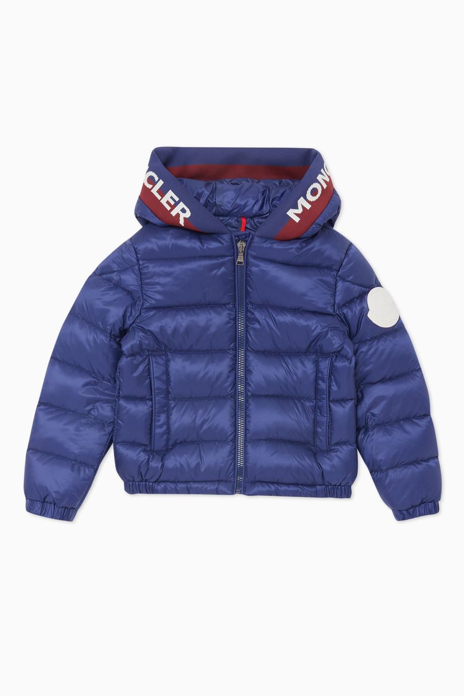 bf8f865df Shop Moncler Blue Moncler Navy Blue Bomber Jacket for Kids | Ounass UAE