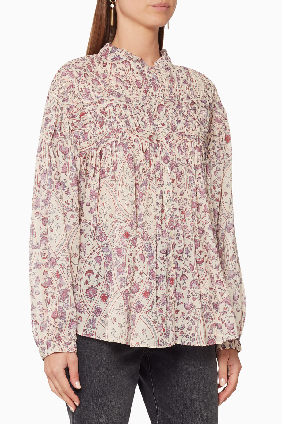 Shop Isabel Marant Etoile Neutral Lalia Smocked Top For