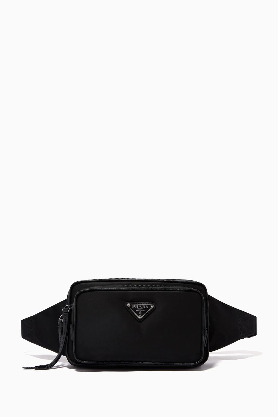 02d254212b095 Shop Prada Black Triangle Logo Nylon & Leather Belt Bag for Women ...