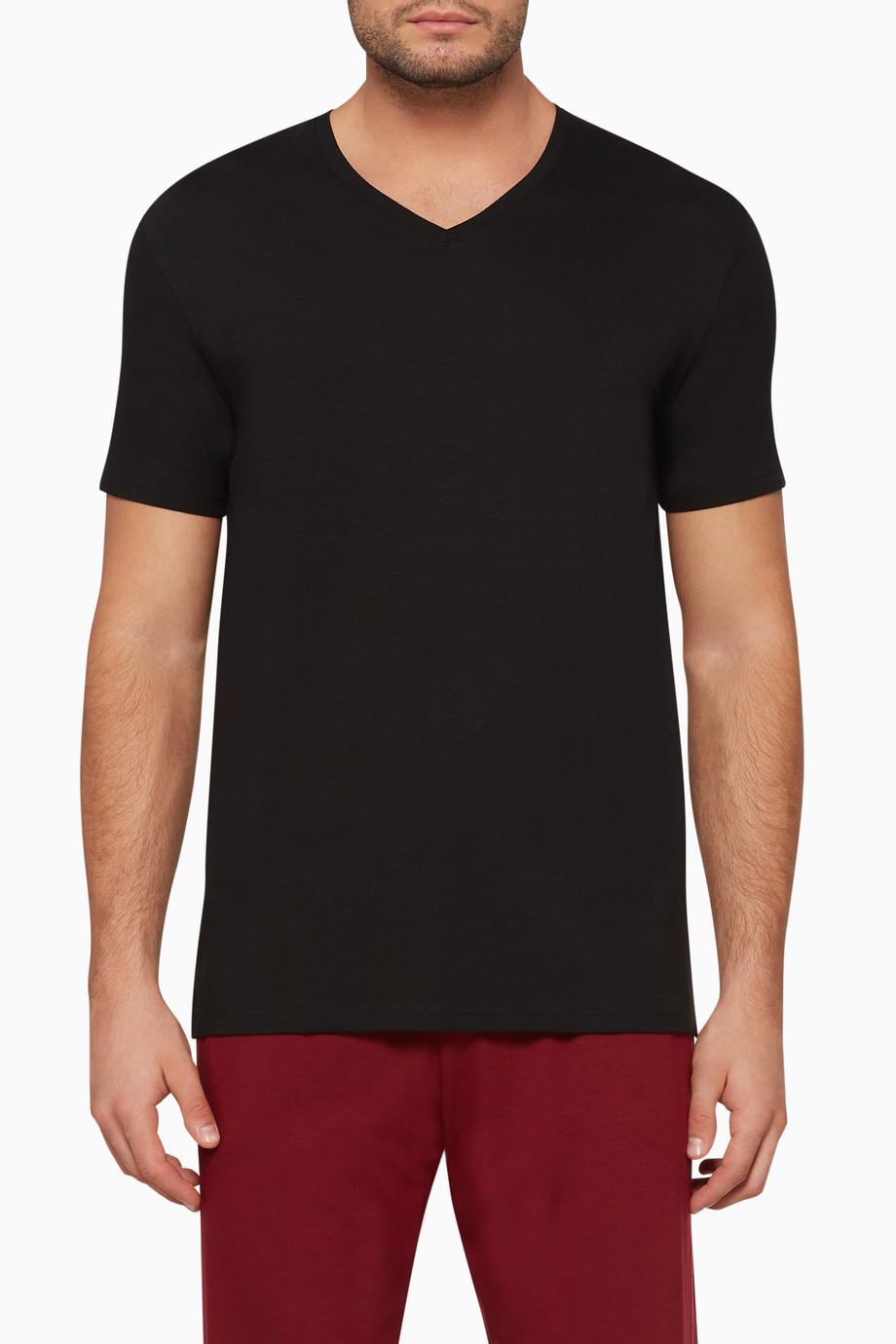 a50a6265dec7 Shop Derek Rose Black Basel Micro-Modal Stretch T-Shirt for Men | Ounass