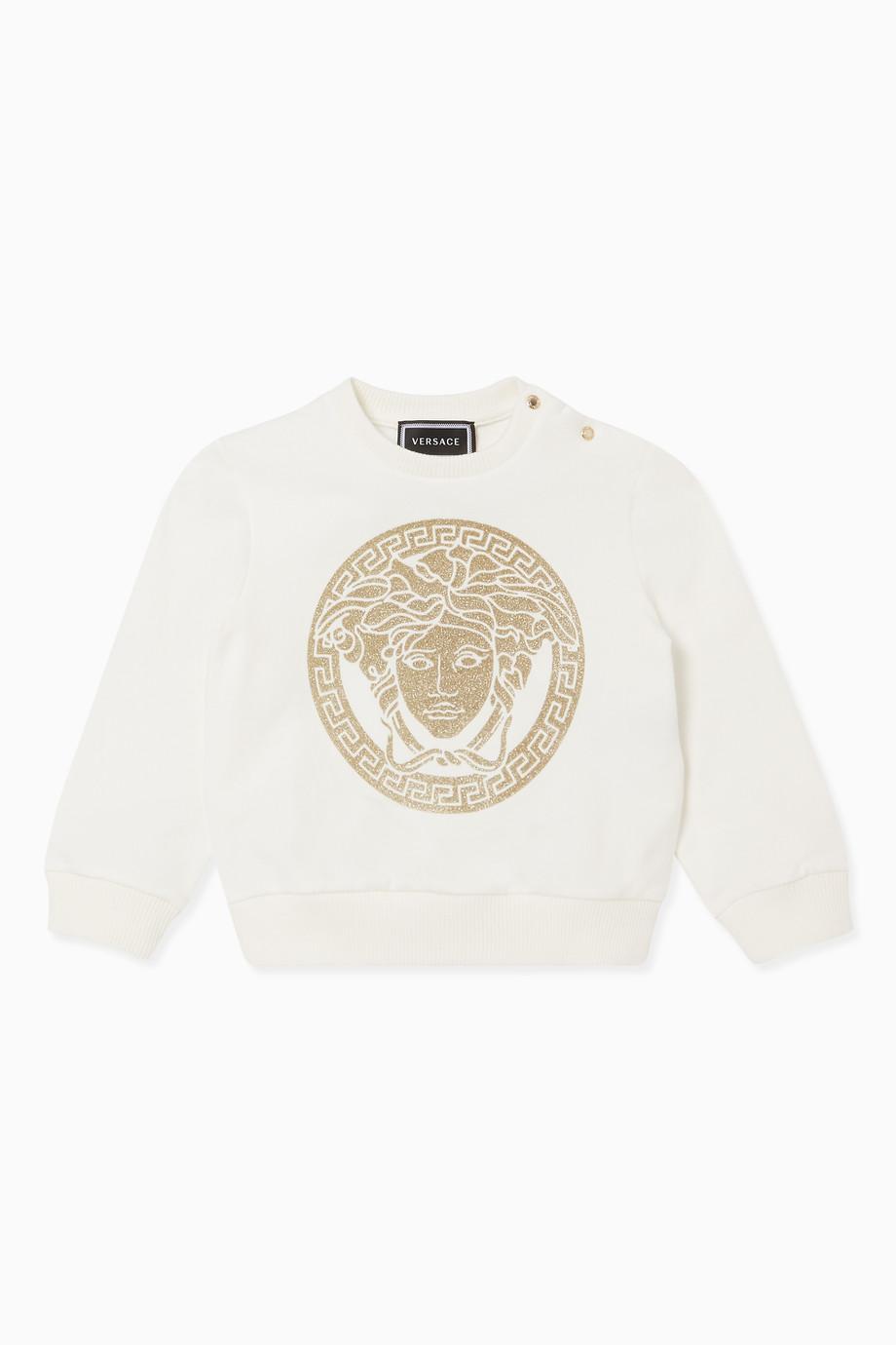 Shop Young Versace White Medusa Logo Print Sweatshirt for