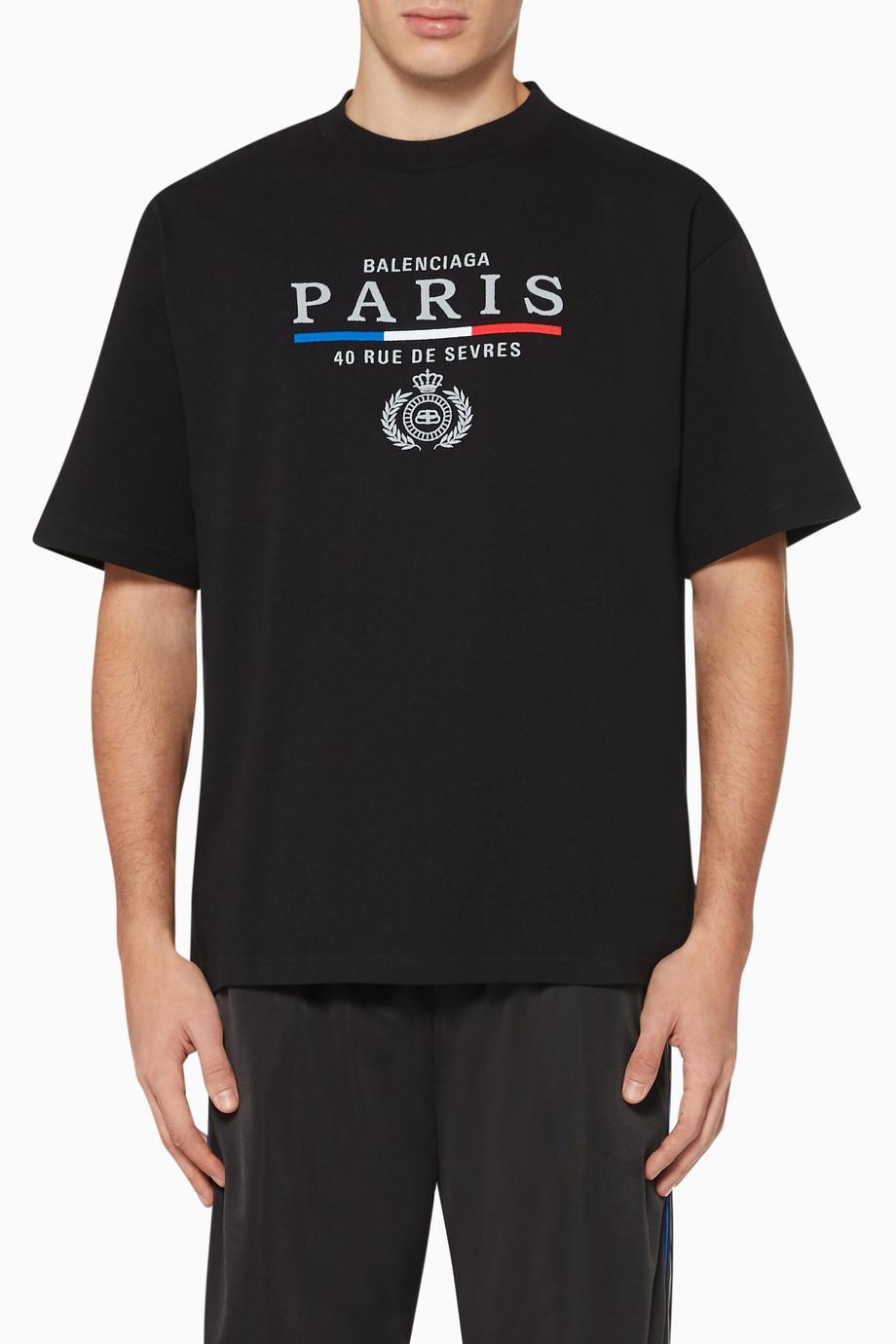 Shop Balenciaga Black Bb Paris Logo Print T Shirt For Men