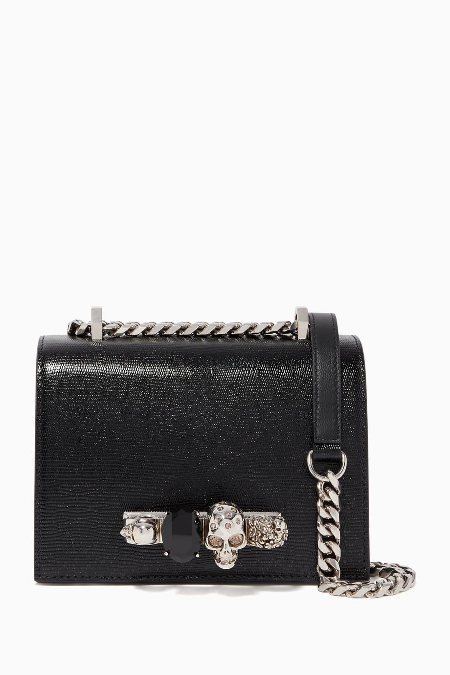 حقيبة ساتشل جلد صغيرة مرصعة بالجواهر